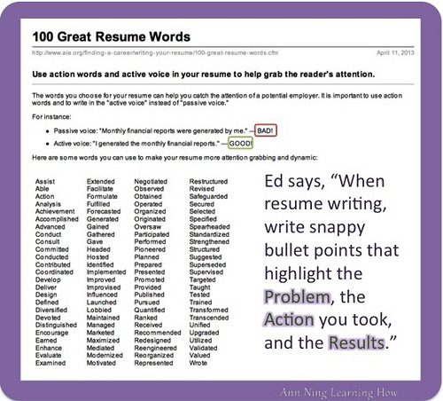 Resume Action Words Ann Ning Learning How Learning How aadl1PHp