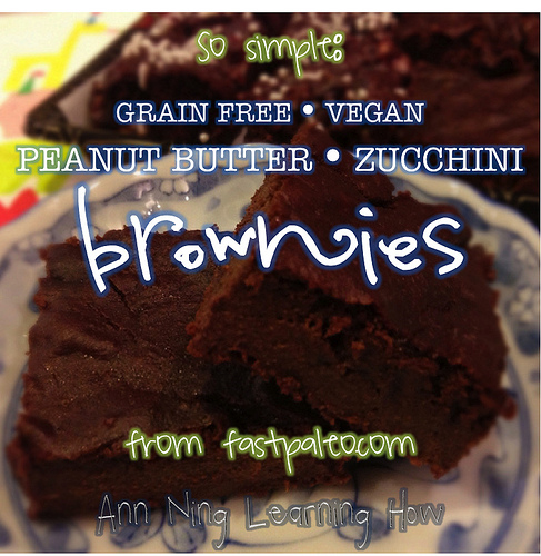 So Simple:  PB Zucchini Brownies [Grain Free, Vegan] from fastpaleo.com || Ann Ning Learning How