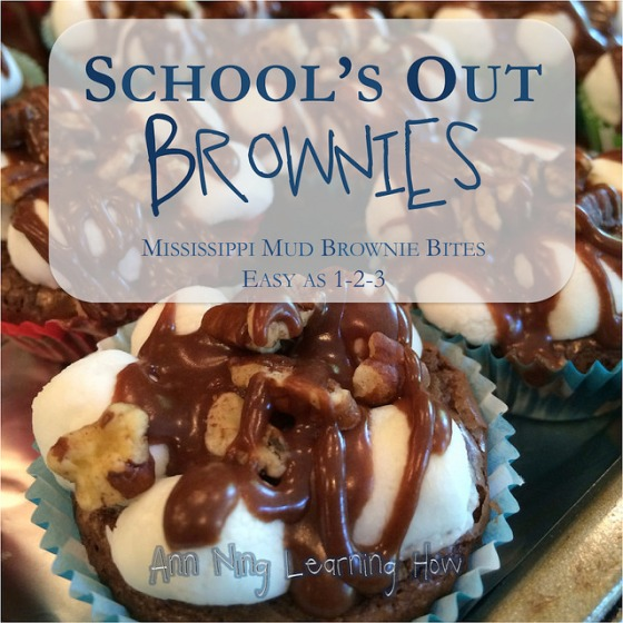 School's Out Brownies | Mississippi Mud Brownie Bites | Ann Ning Learning How