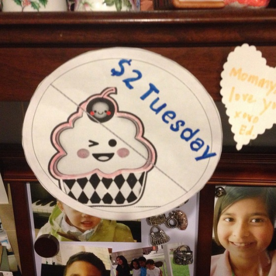 I made this picture for Boo Boo.  I love how the cupcake is winking at me.