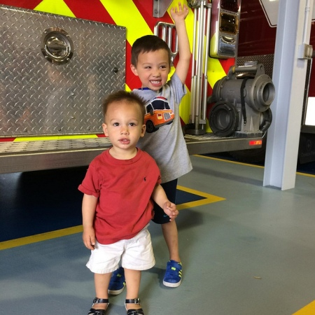The boys at Ezra's Fire House field trip