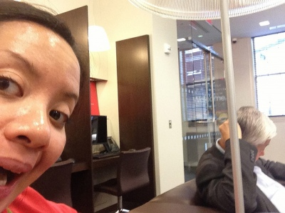 Dec 2013.  At the bank getting LHC set up.  I like to take selfies when he's not looking and send them to Mommy.